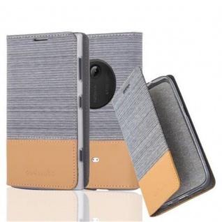 Cadorabo Hülle für Nokia Lumia 1020 - Hülle in HELL GRAU BRAUN ? Handyhülle mit Standfunktion und Kartenfach im Stoff Design - Case Cover Schutzhülle Etui Tasche Book