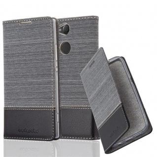 Cadorabo Hülle für Sony Xperia XA2 in GRAU SCHWARZ - Handyhülle mit Magnetverschluss, Standfunktion und Kartenfach - Case Cover Schutzhülle Etui Tasche Book Klapp Style