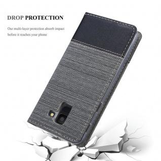 Cadorabo Hülle für Samsung Galaxy J6 2018 in GRAU SCHWARZ - Handyhülle mit Magnetverschluss, Standfunktion und Kartenfach - Case Cover Schutzhülle Etui Tasche Book Klapp Style - Vorschau 5