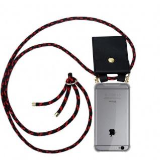 Cadorabo Handy Kette für Apple iPhone 6 PLUS / iPhone 6S PLUS in SCHWARZ ROT - Silikon Necklace Umhänge Hülle mit Gold Ringen, Kordel Band Schnur und abnehmbarem Etui ? Schutzhülle