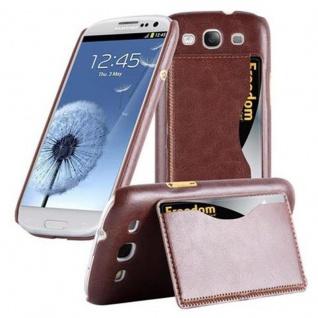 Cadorabo Hülle für Samsung Galaxy S3 / S3 NEO - Hülle in BRAUN ? Handyhülle mit Kartenfach und Standfunktion - Hardcase Bumper Back Case Cover