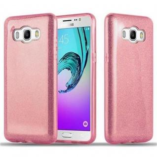 Cadorabo Hülle für Samsung Galaxy J5 2016 - Hülle in STERNENSTAUB PINK ? TPU Silikon und Hardcase Handyhülle im Glitzer Design - Hard Case TPU Silikon Schutzhülle