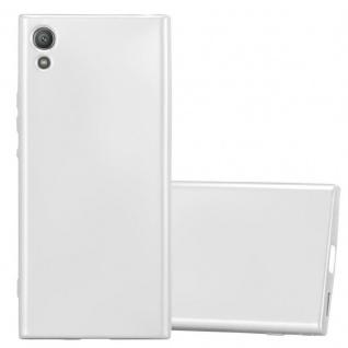 Cadorabo Hülle für Sony Xperia XA1 in METALLIC SILBER - Handyhülle aus flexiblem TPU Silikon - Silikonhülle Schutzhülle Ultra Slim Soft Back Cover Case Bumper