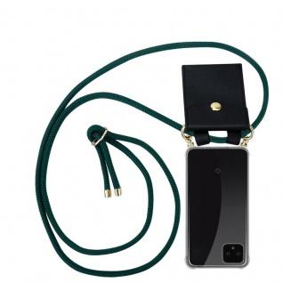 Cadorabo Handy Kette für Google Pixel 4 in ARMEE GRÜN Silikon Necklace Umhänge Hülle mit Gold Ringen, Kordel Band Schnur und abnehmbarem Etui Schutzhülle
