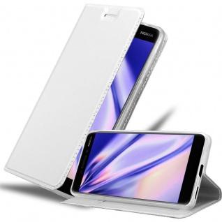 Cadorabo Hülle für Nokia 6.1 2018 in CLASSY SILBER Handyhülle mit Magnetverschluss, Standfunktion und Kartenfach Case Cover Schutzhülle Etui Tasche Book Klapp Style