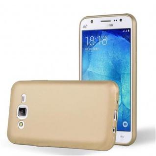 Cadorabo Hülle für Samsung Galaxy J5 2015 in METALLIC GOLD - Handyhülle aus flexiblem TPU Silikon - Silikonhülle Schutzhülle Ultra Slim Soft Back Cover Case Bumper