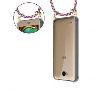Cadorabo Handy Kette für LG X Power 2 in ROT WEISS - Silikon Necklace Umhänge Hülle mit Gold Ringen, Kordel Band Schnur und abnehmbarem Etui ? Schutzhülle - Vorschau 5