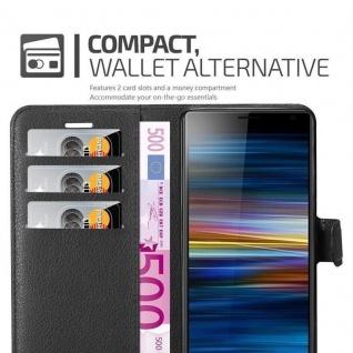 Cadorabo Hülle für Sony Xperia 10 PLUS in PHANTOM SCHWARZ Handyhülle mit Magnetverschluss, Standfunktion und Kartenfach Case Cover Schutzhülle Etui Tasche Book Klapp Style - Vorschau 4