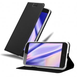 Cadorabo Hülle für ZTE Blade V7 in CLASSY SCHWARZ - Handyhülle mit Magnetverschluss, Standfunktion und Kartenfach - Case Cover Schutzhülle Etui Tasche Book Klapp Style
