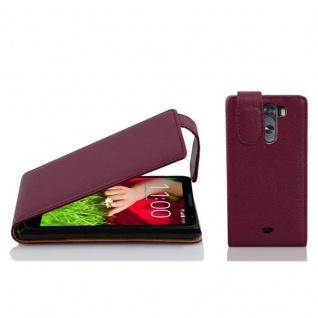 Cadorabo Hülle für LG G2 MINI in BORDEAUX LILA - Handyhülle im Flip Design aus strukturiertem Kunstleder - Case Cover Schutzhülle Etui Tasche Book Klapp Style