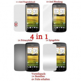 Cadorabo Displayschutzfolien für HTC One S - Schutzfolien in HIGH CLEAR ? 4 Folien (1x Privacy - 1x Spiegel - 1x Matt - 1x Anti-Fingerabdruck)