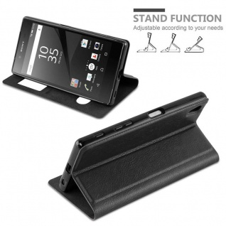 Cadorabo Hülle für Sony Xperia Z5 PREMIUM in KOMETEN SCHWARZ ? Handyhülle mit Magnetverschluss, Standfunktion und 2 Sichtfenstern ? Case Cover Schutzhülle Etui Tasche Book Klapp Style - Vorschau 2
