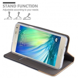 Cadorabo Hülle für Samsung Galaxy A5 2015 in DUNKEL BLAU BRAUN - Handyhülle mit Magnetverschluss, Standfunktion und Kartenfach - Case Cover Schutzhülle Etui Tasche Book Klapp Style - Vorschau 5