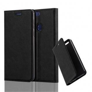 Cadorabo Hülle für Honor 8 in NACHT SCHWARZ Handyhülle mit Magnetverschluss, Standfunktion und Kartenfach Case Cover Schutzhülle Etui Tasche Book Klapp Style
