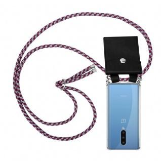 Cadorabo Handy Kette für Oneplus 8 in ROT WEISS Silikon Necklace Umhänge Hülle mit Silber Ringen, Kordel Band Schnur und abnehmbarem Etui Schutzhülle