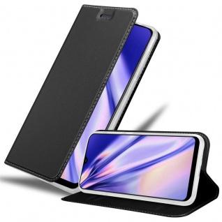 Cadorabo Hülle für Samsung Galaxy A30S in CLASSY SCHWARZ Handyhülle mit Magnetverschluss, Standfunktion und Kartenfach Case Cover Schutzhülle Etui Tasche Book Klapp Style