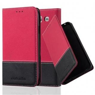 Cadorabo Hülle für Samsung Galaxy S3 / S3 NEO in ROT SCHWARZ ? Handyhülle mit Magnetverschluss, Standfunktion und Kartenfach ? Case Cover Schutzhülle Etui Tasche Book Klapp Style