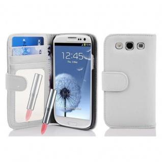 Cadorabo Hülle für Samsung Galaxy S3 / S3 NEO - Hülle in FROST WEIß ? Handyhülle mit Spiegel und Kartenfach - Case Cover Schutzhülle Etui Tasche Book Klapp Style