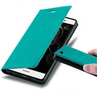 Cadorabo Hülle für Huawei P8 LITE 2015 in PETROL TÜRKIS - Handyhülle mit Magnetverschluss, Standfunktion und Kartenfach - Case Cover Schutzhülle Etui Tasche Book Klapp Style