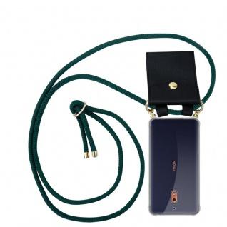 Cadorabo Handy Kette für Nokia 2.1 2018 in ARMEE GRÜN - Silikon Necklace Umhänge Hülle mit Gold Ringen, Kordel Band Schnur und abnehmbarem Etui ? Schutzhülle