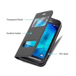 Cadorabo Hülle für Samsung Galaxy XCOVER 3 in KOMETEN SCHWARZ ? Handyhülle mit Magnetverschluss, Standfunktion und 2 Sichtfenstern ? Case Cover Schutzhülle Etui Tasche Book Klapp Style - Vorschau 3