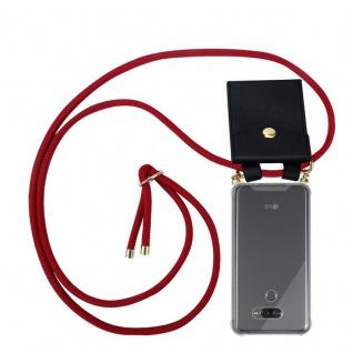 Cadorabo Handy Kette für LG K50 in RUBIN ROT - Silikon Necklace Umhänge Hülle mit Gold Ringen, Kordel Band Schnur und abnehmbarem Etui ? Schutzhülle