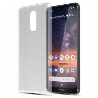 Cadorabo Hülle für Nokia 3.2 in VOLL TRANSPARENT Handyhülle aus flexiblem TPU Silikon Silikonhülle Schutzhülle Ultra Slim Soft Back Cover Case Bumper