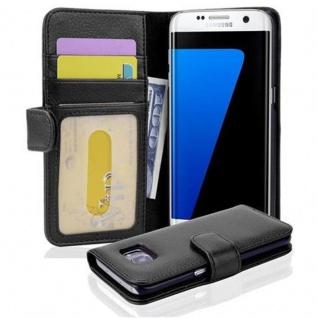 Cadorabo Hülle für Samsung Galaxy S7 EDGE in OXID SCHWARZ ? Handyhülle mit Magnetverschluss und 3 Kartenfächern ? Case Cover Schutzhülle Etui Tasche Book Klapp Style - Vorschau 1
