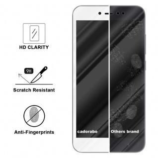 Cadorabo Vollbild Panzer Folie für Xiaomi RedMi NOTE 5A PRIME - Schutzfolie in TRANSPARENT mit WEISS - Gehärtetes (Tempered) Display-Schutzglas in 9H Härte mit 3D Touch Kompatibilität - Vorschau 3