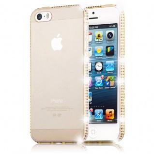 Cadorabo Hülle für Apple iPhone 6 PLUS / iPhone 6S PLUS - Hülle in TRANSPARENT GOLD ? Handyhülle aus TPU Silikon im Strass Design - Silikonhülle Schutzhülle Ultra Slim Soft Back Cover Case Bumper