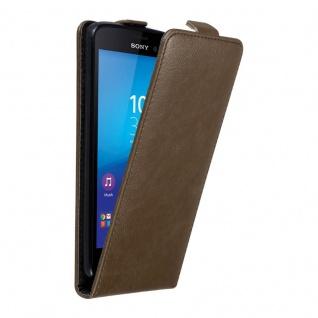 Cadorabo Hülle für Sony Xperia M4 AQUA in KAFFEE BRAUN - Handyhülle im Flip Design mit unsichtbarem Magnetverschluss - Case Cover Schutzhülle Etui Tasche Book Klapp Style