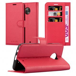 Cadorabo Hülle für Motorola MOTO X4 in KARMIN ROT Handyhülle mit Magnetverschluss, Standfunktion und Kartenfach Case Cover Schutzhülle Etui Tasche Book Klapp Style