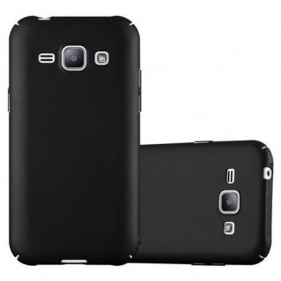 Cadorabo Hülle für Samsung Galaxy J1 2015 in METALL SCHWARZ - Hardcase Handyhülle aus Plastik gegen Kratzer und Stöße - Schutzhülle Bumper Ultra Slim Back Case Hard Cover