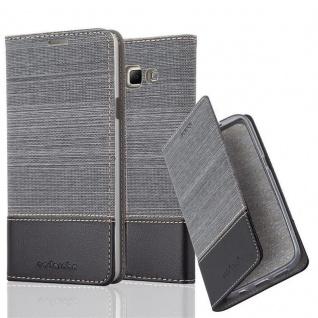 Cadorabo Hülle für Samsung Galaxy A7 2015 in GRAU SCHWARZ - Handyhülle mit Magnetverschluss, Standfunktion und Kartenfach - Case Cover Schutzhülle Etui Tasche Book Klapp Style