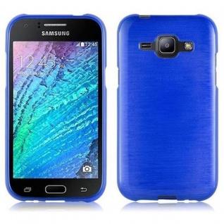 Cadorabo Hülle für Samsung Galaxy J1 2015 in BLAU - Handyhülle aus flexiblem TPU Silikon - Silikonhülle Schutzhülle Ultra Slim Soft Back Cover Case Bumper
