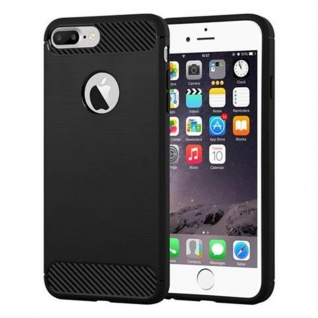 Cadorabo Hülle für Apple iPhone 8 PLUS / iPhone 7 PLUS / iPhone 7S PLUS - Hülle in BRUSHED SCHWARZ - Handyhülle aus TPU Silikon in Edelstahl-Karbonfaser Optik - Silikonhülle Schutzhülle Ultra Slim Soft Back Cover Case Bumper