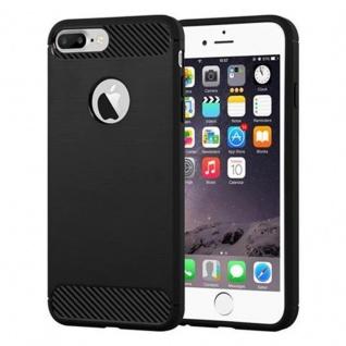 Cadorabo Hülle für Apple iPhone 8 PLUS / iPhone 7 PLUS / iPhone 7S PLUS - Hülle in BRUSHED SCHWARZ ? Handyhülle aus TPU Silikon in Edelstahl-Karbonfaser Optik - Ultra Slim Soft Backcover Case Bumper
