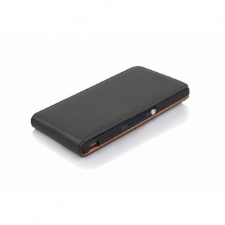 Cadorabo Hülle für Sony Xperia Z in OXID SCHWARZ - Handyhülle im Flip Design aus strukturiertem Kunstleder - Case Cover Schutzhülle Etui Tasche Book Klapp Style - Vorschau 3