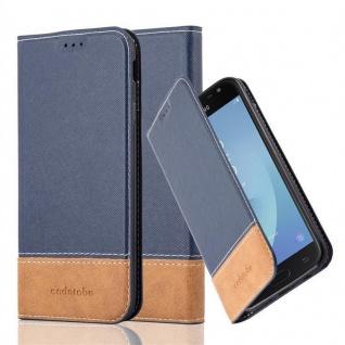 Cadorabo Hülle für Samsung Galaxy J3 2017 in BLAU BRAUN ? Handyhülle mit Magnetverschluss, Standfunktion und Kartenfach ? Case Cover Schutzhülle Etui Tasche Book Klapp Style