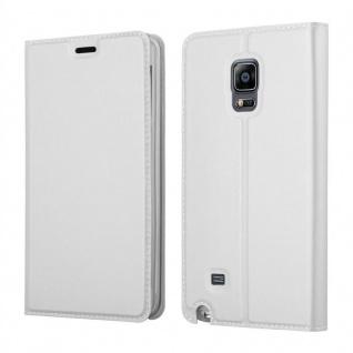 Cadorabo Hülle für Samsung Galaxy NOTE EDGE in CLASSY SILBER - Handyhülle mit Magnetverschluss, Standfunktion und Kartenfach - Case Cover Schutzhülle Etui Tasche Book Klapp Style