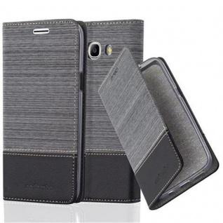 Cadorabo Hülle für Samsung Galaxy J7 2016 in GRAU SCHWARZ - Handyhülle mit Magnetverschluss, Standfunktion und Kartenfach - Case Cover Schutzhülle Etui Tasche Book Klapp Style