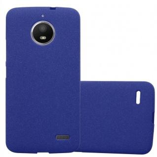 Cadorabo Hülle für Motorola MOTO E4 in FROST DUNKEL BLAU - Handyhülle aus flexiblem TPU Silikon - Silikonhülle Schutzhülle Ultra Slim Soft Back Cover Case Bumper