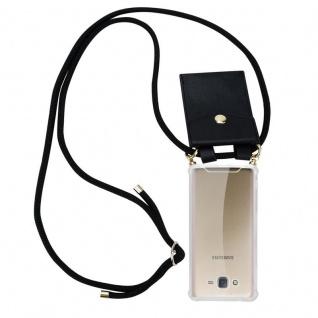 Cadorabo Handy Kette für Samsung Galaxy J7 2015 in SCHWARZ ? Silikon Necklace Umhänge Hülle mit Gold Ringen, Kordel Band Schnur und abnehmbarem Etui ? Schutzhülle - Vorschau 1
