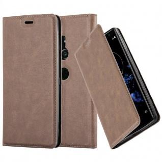 Cadorabo Hülle für Sony Xperia XZ2 in KAFFEE BRAUN - Handyhülle mit Magnetverschluss, Standfunktion und Kartenfach - Case Cover Schutzhülle Etui Tasche Book Klapp Style