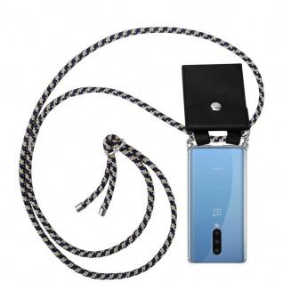 Cadorabo Handy Kette für Oneplus 8 in DUNKELBLAU GELB Silikon Necklace Umhänge Hülle mit Silber Ringen, Kordel Band Schnur und abnehmbarem Etui Schutzhülle