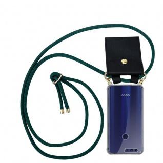 Cadorabo Handy Kette für Honor 8 / Honor 8 Premium in ARMEE GRÜN Silikon Necklace Umhänge Hülle mit Gold Ringen, Kordel Band Schnur und abnehmbarem Etui Schutzhülle