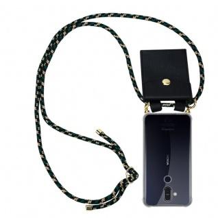 Cadorabo Handy Kette für Nokia 8.1 2018 in CAMOUFLAGE - Silikon Necklace Umhänge Hülle mit Gold Ringen, Kordel Band Schnur und abnehmbarem Etui ? Schutzhülle