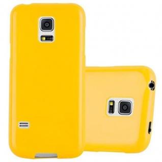 Cadorabo Hülle für Samsung Galaxy S5 MINI / S5 MINI DUOS in JELLY GELB ? Handyhülle aus flexiblem TPU Silikon ? Silikonhülle Schutzhülle Ultra Slim Soft Back Cover Case Bumper
