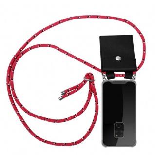 Cadorabo Handy Kette für Huawei MATE 20 in PINK SCHWARZ WEISS GEPUNKTET - Silikon Necklace Umhänge Hülle mit Silber Ringen, Kordel Band Schnur und abnehmbarem Etui - Schutzhülle