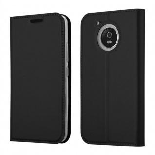 Cadorabo Hülle für Motorola MOTO G5 in CLASSY SCHWARZ - Handyhülle mit Magnetverschluss, Standfunktion und Kartenfach - Case Cover Schutzhülle Etui Tasche Book Klapp Style